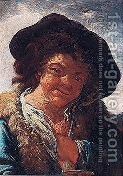 A Young Shepherd Boy by (after) Philipp Peter Roos - Reproduction Oil Painting