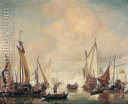A dutch yacht and fishing vessels in a calm by (after) Willem Van De, The Younger Velde - Reproduction Oil Painting