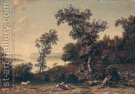 A Coastal Landscape With A Drover Attending His Animals Before A Ruined Church by Cornelis Cornelisz. Tartarius - Reproduction Oil Painting