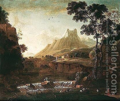 A Mountainous Landscape With Herders Watering Their Animals In The Foreground, A Fortress Beyond by Barend Appelman - Reproduction Oil Painting