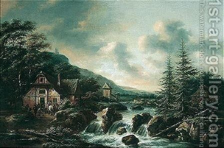 Scandinavian Landscape With Figures Outside A Tavern By A Waterfall by Claes Molenaar (see Molenaer) - Reproduction Oil Painting