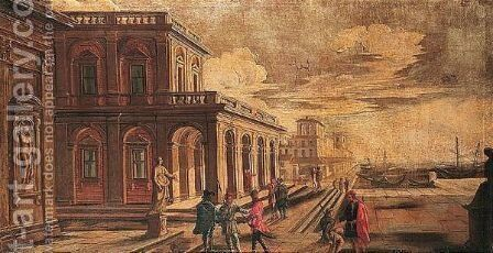A capriccio of a southern harbour with figures before a loggia by (after) Alessandro Salucci - Reproduction Oil Painting