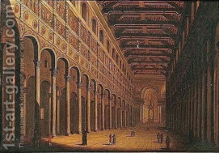 The interior of San Giovanni in Laterano, Rome by (after) Antonio Joli - Reproduction Oil Painting