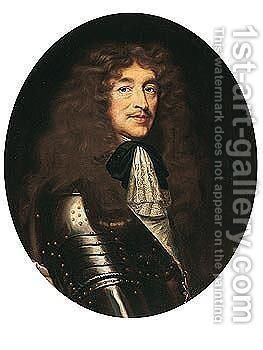 Portrait of a man, half-length, wearing armour and the badge of the order of saint espirit by (after) Laurent Fauchier - Reproduction Oil Painting