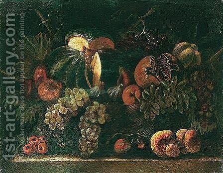 Still life of a melon, a pomegranate, grapes, figs, pears and peaches by (after) Agostino Verrocchi - Reproduction Oil Painting