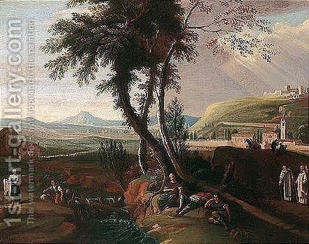 A landscape with figures resting by a stream near the outskirts of a town by (after) Marco Ricci - Reproduction Oil Painting