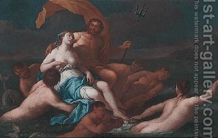 Neptune and Amphitrite by (after) Giulio Carpioni - Reproduction Oil Painting
