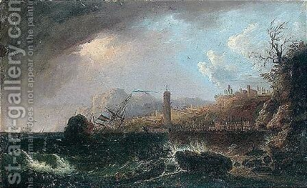 A coastal landscape with a ship sinking at the entrance to the harbour by (after)  Claude-Joseph Vernet - Reproduction Oil Painting