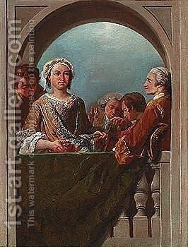 Elegant figures on a balcony by (after) Giovanni Paolo Panini - Reproduction Oil Painting