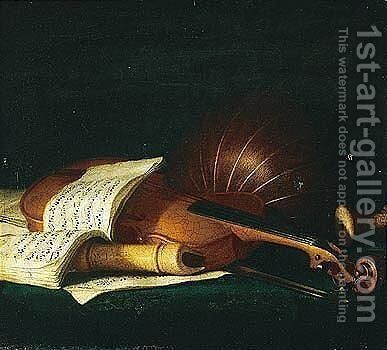 Still life of a violin and bow, together with a recorder by (after) Pierre Nicolas Huilliot - Reproduction Oil Painting