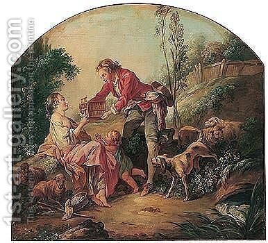 The birdcage by (after) Francois Boucher - Reproduction Oil Painting