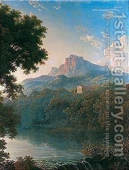A landscape with a classical temple overlooking a lake by (after) Pierre-Henri De Valenciennes - Reproduction Oil Painting