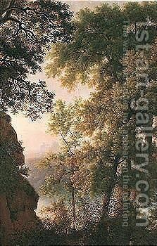 A wooded gorge with a view of a castle in the distance by (after) Pierre-Henri De Valenciennes - Reproduction Oil Painting