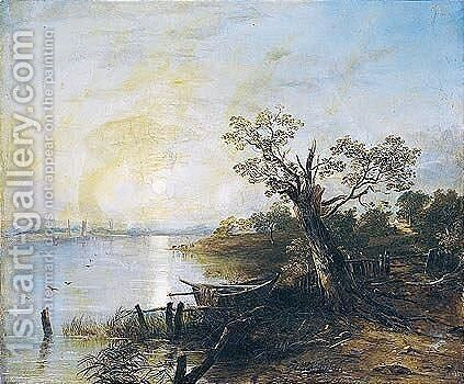 Moonlight Landscape by Horatio McCulloch - Reproduction Oil Painting