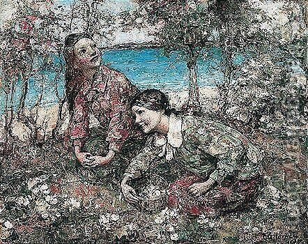 Brighouse Bay by Edward Atkinson Hornel - Reproduction Oil Painting