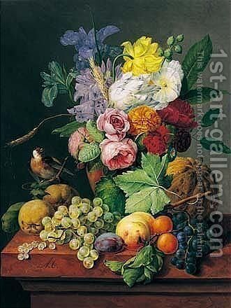 Bloemstilleven Met Distelvink (Still Life With Flowers And Bird) by Anthony Obermann - Reproduction Oil Painting