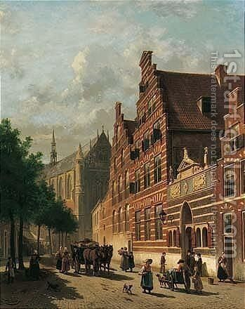 Stadgezicht Op Leiden (A Street Scene In Leiden) by Jacques Carabain - Reproduction Oil Painting