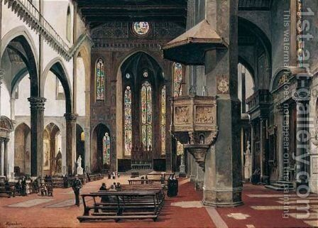 The Interior Of Santa Croce, Florence 2 by Antonietta Brandeis - Reproduction Oil Painting