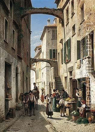The Via Mezzo In Bordighera by Jacques Carabain - Reproduction Oil Painting