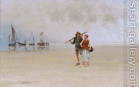 After The Catch by August Wilhelm Nikolaus Hagborg - Reproduction Oil Painting