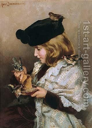 Mahlzeit (Feeding The Birds) by Aurel Zimmermann - Reproduction Oil Painting