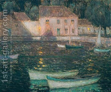 Barques Blanches Au Clair De Lune by Henri Eugene Augustin Le Sidaner - Reproduction Oil Painting