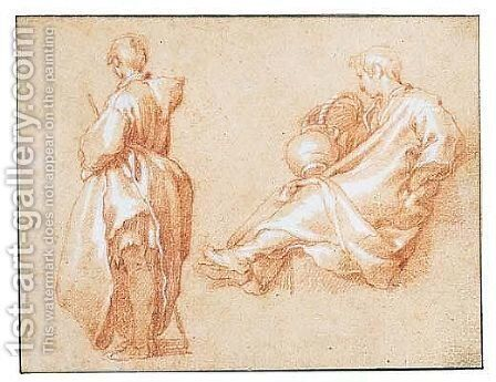 Study Of A Standing Man And Another Seated With Outstretched Legs by Abraham Bloemaert - Reproduction Oil Painting