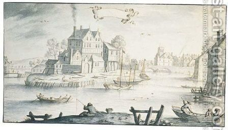 View of a town on a river with figures fishing and in boats by Albert Flamen - Reproduction Oil Painting