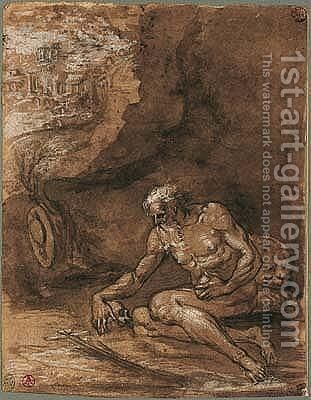 St. Jerome seated in a landscape by Emilian School - Reproduction Oil Painting