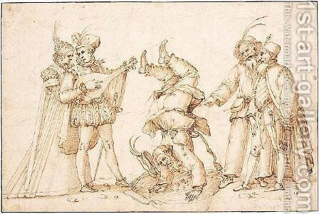 A vignette from the commedia dell'Arte. by (after) Giacomo Franco - Reproduction Oil Painting