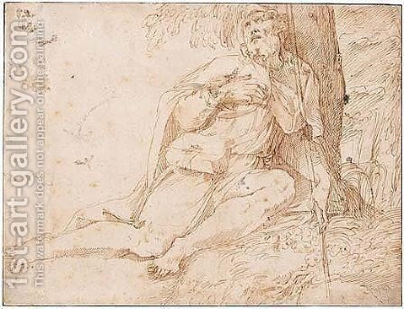 A saint seated at the foot of a tree by Jacopo Zanguidi (Jacopo Bertoija) - Reproduction Oil Painting