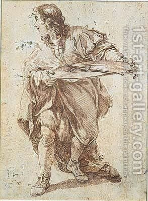 Studies Of A Donkey And Goats by Giovanni Battista Pittoni the younger - Reproduction Oil Painting