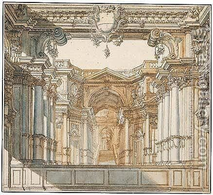 A stage design, a palace courtyard with a huge arch leading to a stairway by Antonio Galli Bibiena - Reproduction Oil Painting