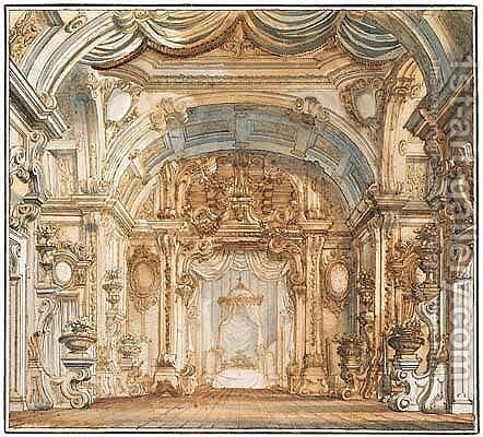A stage design for a fantastical royal bedroom by Antonio Galli Bibiena - Reproduction Oil Painting