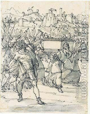Joshua with the priests carrying the ark around the walls of jericho by (after) Christoph Murer - Reproduction Oil Painting