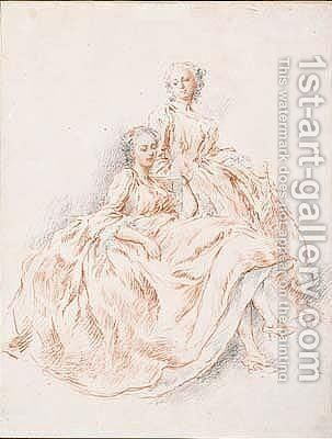 Two women reading a letter by Jacqes Andre Portail - Reproduction Oil Painting