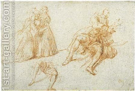 Study of two girls playing hide-and-seek and a study of a seated man and separate study of his legs by Nicolas Lancret - Reproduction Oil Painting