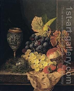 Still Life With Fruit, Bird's Nest And A Goblet by Edward Ladell - Reproduction Oil Painting