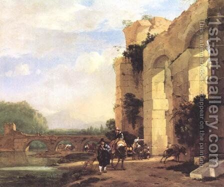 Italian Landscape With The Ruins Of A Roman Bridge And Aqueduct by Jan Asselyn - Reproduction Oil Painting