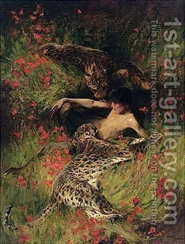 A satyr resting with leopards by Arthur Wardle - Reproduction Oil Painting