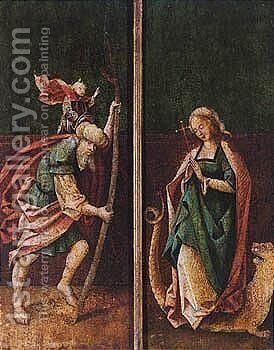 Saint Christopher And Saint Margaret Of Antioch by South Netherlandish School - Reproduction Oil Painting