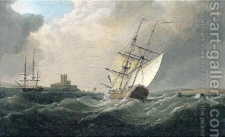 A Briganteine In A Fresh Breeze Off A Fort by Charles Brooking - Reproduction Oil Painting