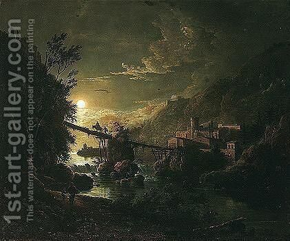 Moonlit River Landscape With Figures Crossing A Bridge by Abraham Pether - Reproduction Oil Painting
