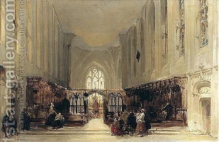 Interior Of A Church by David Roberts - Reproduction Oil Painting