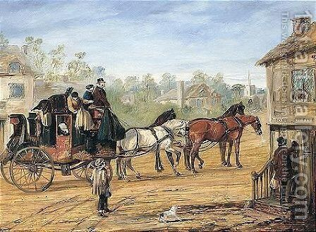 The Hull To London Royal Mail Stopping At A Country Post Office by Henry Alken - Reproduction Oil Painting