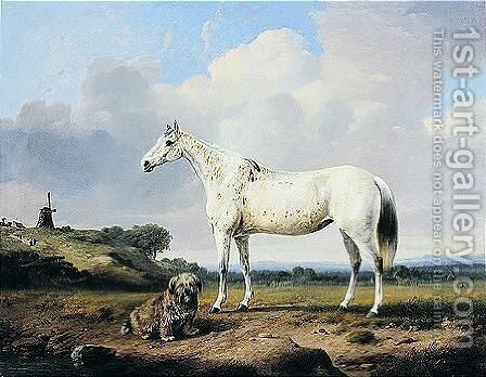 A Grey Hunter With Terrier In A Landscape by Charles Towne - Reproduction Oil Painting