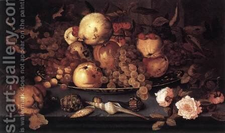 Still Life With Dish Of Fruit by Balthasar Van Der Ast - Reproduction Oil Painting