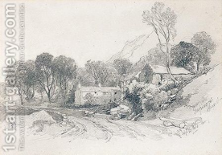 Cottages At Trefriw, Carnarvonshire, Wales by James Duffield Harding - Reproduction Oil Painting
