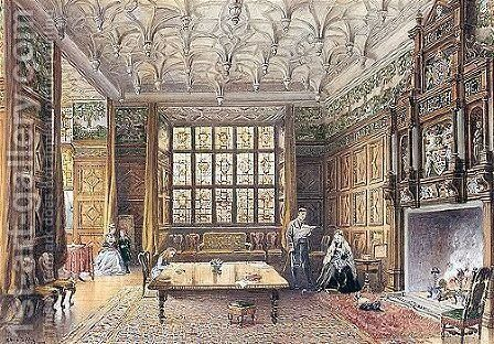 The Dining Room, Gilling Castle, Yorkshire by Edwin Thomas Dolby - Reproduction Oil Painting