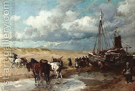 Beach scenes, two, both by Gregor Von Bochmann - Reproduction Oil Painting